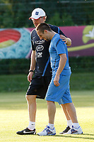 FOOTBALL - UEFA EURO 2012 - KIRCHA - UKRAINE - GROUP STAGE - GROUP D - FRANCE TRAINING - 12/06/2012 - PHOTO PHILIPPE LAURENSON / DPPI - KIRSHA TRAINING CENTER -      FRENCH PLAYERS - LAURENT BLAND AND FRANCK RIBERY