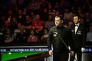 20.02.2016. Cardiff Arena, Cardiff, Wales. Bet Victor Welsh Open Snooker semi-finals. Mark Allen versus Neil Robertson. Mark Allen surveys the table.
