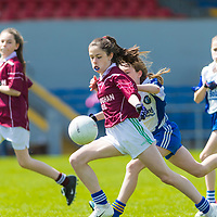 Caoimhe Byrne O'Connell scores the first goal for Lisdoonvarna Parish Schools against Scoil Réalt na Mara, Kilkee/Moyasta NS, in Division 3  Clare Primary Schools Ladies Football Finals at Cusack Park, Ennis, Co. Clare