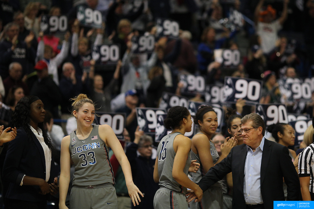 HARTFORD, CONNECTICUT- JANUARY 10: Head coach Geno Auriemma of the Connecticut Huskies congratulates his players after their ninetieth consecutive win during the the UConn Huskies Vs USF Bulls, NCAA Women's Basketball game on January 10th, 2017 at the XL Center, Hartford, Connecticut. (Photo by Tim Clayton/Corbis via Getty Images)