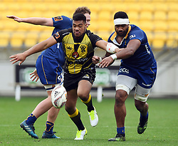 Wellington's Losi Filipo, centre splits the Otago defence in the Mitre 10 Rugby match at Westpac Stadium, Wellington, New Zealand, Sunday October 01,, 2017. Credit:SNPA / Ross Setford  **NO ARCHIVING**