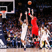 09 April 2018: Portland Trail Blazers forward Evan Turner (1) takes a jump shot over Denver Nuggets forward Wilson Chandler (21) during the Denver Nuggets 88-82 victory over the Portland Trail Blazers, at the Pepsi Center, Denver, Colorado, USA.