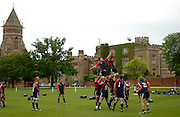 Photo: Richard Lane.<br /> New Zealand Maori training at Rugby School. Barclays Churchill Cup 2007. 21/05/2007. <br /> The Maori team practice lineouts.