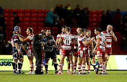 Gloucester players celebrate victory at the end of the match - Mandatory by-line: Matt McNulty/JMP - 16/09/2016 - RUGBY - Heywood Road Stadium - Sale, England - Sale Sharks v Gloucester Rugby - Aviva Premiership