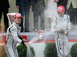 MONTE-CARLO, MONACO - Sunday, May 24, 2009: Jenson Button (GBR Brawn GP) (R) and Rubens Barrichello (BRA Brawn GP) celebrate their one-two podium finish during the Monaco Formula One Grand Prix at the Monte-Carlo Circuit. (Pic by Juergen Tap/Hoch Zwei/Propaganda)