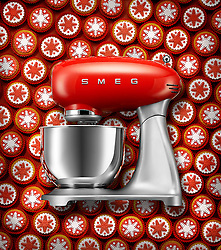 Christmas cupcakes and Red SMEG Mixer. Series of images commissioned by SMEG UK.