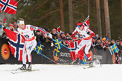25.02.2015, Lugnet Ski Stadium, Falun, SWE, FIS Weltmeisterschaften Ski Nordisch, Falun 2015, Langlauf, Herren, 15km, im Bild SJUR ROETHE I MACIEJ STAREGA // during the Mens 15km Cross Country Race of the FIS Nordic Ski World Championships 2015 at the Lugnet Ski Stadium in Falun, Sweden on 2015/02/25. EXPA Pictures © 2015, PhotoCredit: EXPA/ Newspix/ Radoslaw Jozwiak<br /> <br /> *****ATTENTION - for AUT, SLO, CRO, SRB, BIH, MAZ, TUR, SUI, SWE only*****
