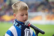 Young fan reads out Dundee's interim manager Neil McCann first starting eleven - Motherwell v Dundee, Fir Park, Motherwell, Photo: David Young<br /> <br />  - © David Young - www.davidyoungphoto.co.uk - email: davidyoungphoto@gmail.com