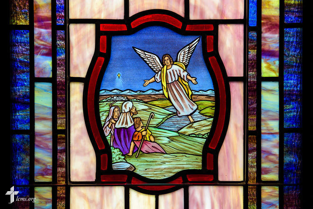 Stained glass depicting the birth of Jesus Christ, and the shepherds and the angel (Luke 2:8) at St. John's Lutheran Church, Conover, N.C, on Friday, April 21, 2017. LCMS Communications/Erik M. Lunsford