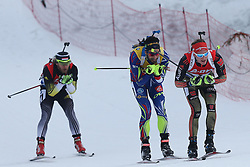 10.03.2016, Holmenkollen, Oslo, NOR, IBU Weltmeisterschaft Biathlion, Oslo, 20km, Herren, im Bild Benedikt Doll (GER), Martin Fourcade (FRA), Karoly Gombos (HUN) // during Mens 20km individual Race of the IBU World Championships, Oslo 2016 at the Holmenkollen in Oslo, Norway on 2016/03/10. EXPA Pictures © 2016, PhotoCredit: EXPA/ Newspix/ Tomasz Jastrzebowski<br /> <br /> *****ATTENTION - for AUT, SLO, CRO, SRB, BIH, MAZ, TUR, SUI, SWE only*****
