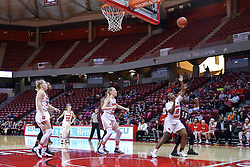 29 January 2017: Brechelle Beachum and Rishonda Napier reach for a loose ball during an College Missouri Valley Conference Women's Basketball game between Illinois State University Redbirds the Salukis of Southern Illinois at Redbird Arena in Normal Illinois.