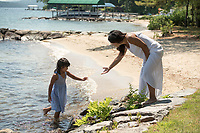 Buck Family portraits at Governor's Island beach.  ©2019 Karen Bobotas Photographer