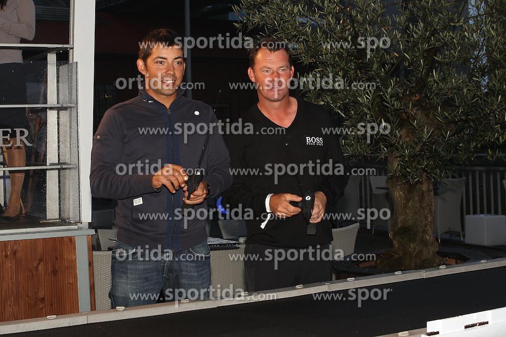 27.06.2014, Golf Club Gut Laerchenhof, Pulheim, GER, BNW International Golf Open, im Bild l-r. Pablo Larrazabal (ESP) und Alex Cejka (GER) beim Autorennen // during the International BMW Golf Open at the Golf Club Gut Laerchenhof in Pulheim, Germany on 2014/06/27. EXPA Pictures &copy; 2014, PhotoCredit: EXPA/ Eibner-Pressefoto/ Kolbert<br /> <br /> *****ATTENTION - OUT of GER*****