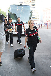 NOVI SAD, SERBIA - Tuesday, September 11, 2012: Wales' performance analyst Esther Laugharne arrives at the Karadorde Stadium before the 2014 FIFA World Cup Brazil Qualifying Group A match against Serbia. (Pic by David Rawcliffe/Propaganda)