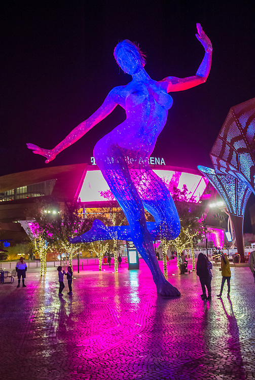 LAS VEGAS -NOV 24 : The Bliss Dance Sculpture display at the T-Mobile park in Las Vegas on November 24, 2016. The 40-foot-tall sculpture of a dancing woman created by artist Marco Cochrane.