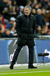 Chelsea Manager Jose Mourinho shouts with excitement to the Chelsea fans with his side 2-0 up - Photo mandatory by-line: Rogan Thomson/JMP - 07966 386802 - 01/03/2015 - SPORT - FOOTBALL - London, England - Wembley Stadium - Chelsea v Tottenham Hotspur - Capital One Cup Final.