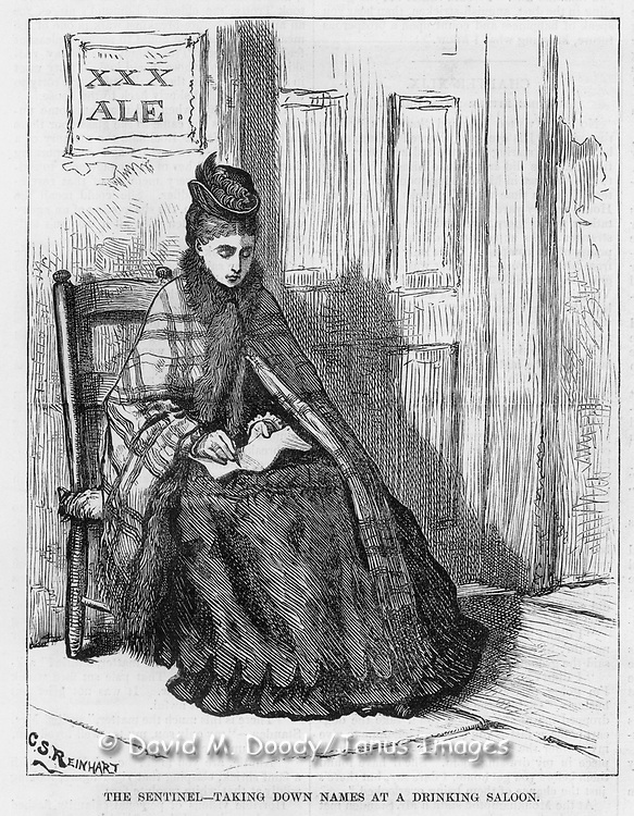 "Vintage Illustration:  ""The Sentinel - taking down names at a drinking saloon""   Woman's crusade against intemperance later known as The  Woman's Christian Temperance Union (WCTU). The scene is illustrated by Mrs. C. S. Reinhart of the events in Xenia, Ohio. Alcohol abuse, social movements, health,   Harper's Weekly 1874"