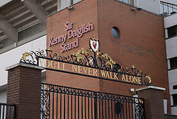 LIVERPOOL, ENGLAND - Tuesday, March 17, 2020: The Shankly Gates at a near deserted Anfield, home of Champions-elect Liverpool Football Club, after the suspension of all football due to the Coronavirus (COVID-19) and Liverpool's decision to close it's Boot Room cafe and official stores. (Pic by David Rawcliffe/Propaganda)