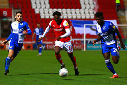 Tyler Smith and Rollin Menayese of Bristol Rovers chase down Freddie Ladapo of Rotherham United - Mandatory by-line: Ryan Crockett/JMP - 18/01/2020 - FOOTBALL - Aesseal New York Stadium - Rotherham, England - Rotherham United v Bristol Rovers - Sky Bet League One