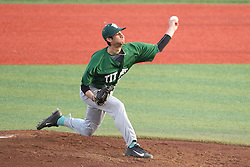 21 April 2015:  Relief pitcher Ben Rashid during an NCAA Inter-Division Baseball game between the Illinois Wesleyan Titans and the Illinois State Redbirds in Duffy Bass Field, Normal IL