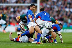 Samoa Scrum-Half Kahn Fotuali'i in action - Mandatory byline: Rogan Thomson/JMP - 07966 386802 - 26/09/2015 - RUGBY UNION - Villa Park - Birmingham, England - South Africa v Samoa - Rugby World Cup 2015 Pool B.