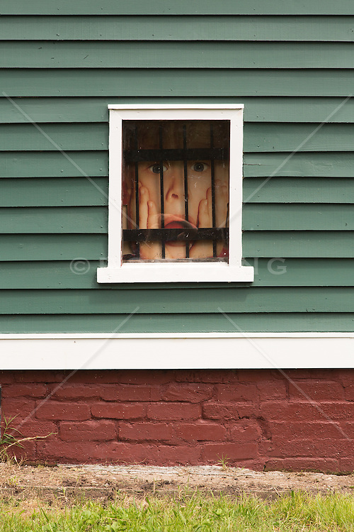 detail of a house with a Home Alone poster behind bars