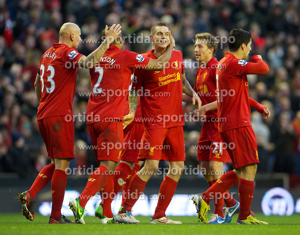 01.12.2012, Anfield, Liverpool, ENG, Premier League, FC Liverpool vs FC Southampton, 15. Runde, im Bild Liverpool's Daniel Agger celebrates scoring the first goal against Southampton during the English Premier League 15th round match between Liverpool FC and Southampton FC at Anfield, Liverpool, Great Britain on 2012/12/01. EXPA Pictures © 2012, PhotoCredit: EXPA/ Propagandaphoto/ David Rawcliffe..***** ATTENTION - OUT OF ENG, GBR, UK *****