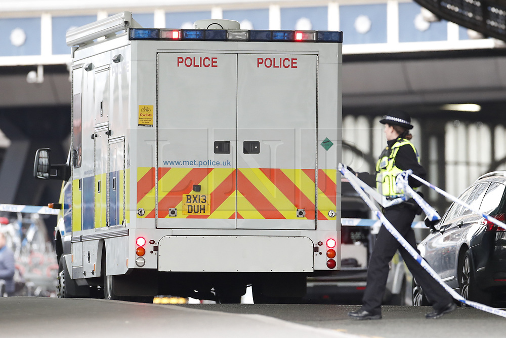 © Licensed to London News Pictures. 05/03/2019. London, UK. A Metropolitan police CBRN (Chemical Biological Radiological Nuclear) specialist vehicle arrives at Waterloo Station as police deal with a suspicious package. Earlier reports said the station has been evacuated, but police state that trains are running as normal. Similar incidents have been reported at Heathrow and London City airport. Photo credit: Peter Macdiarmid/LNP