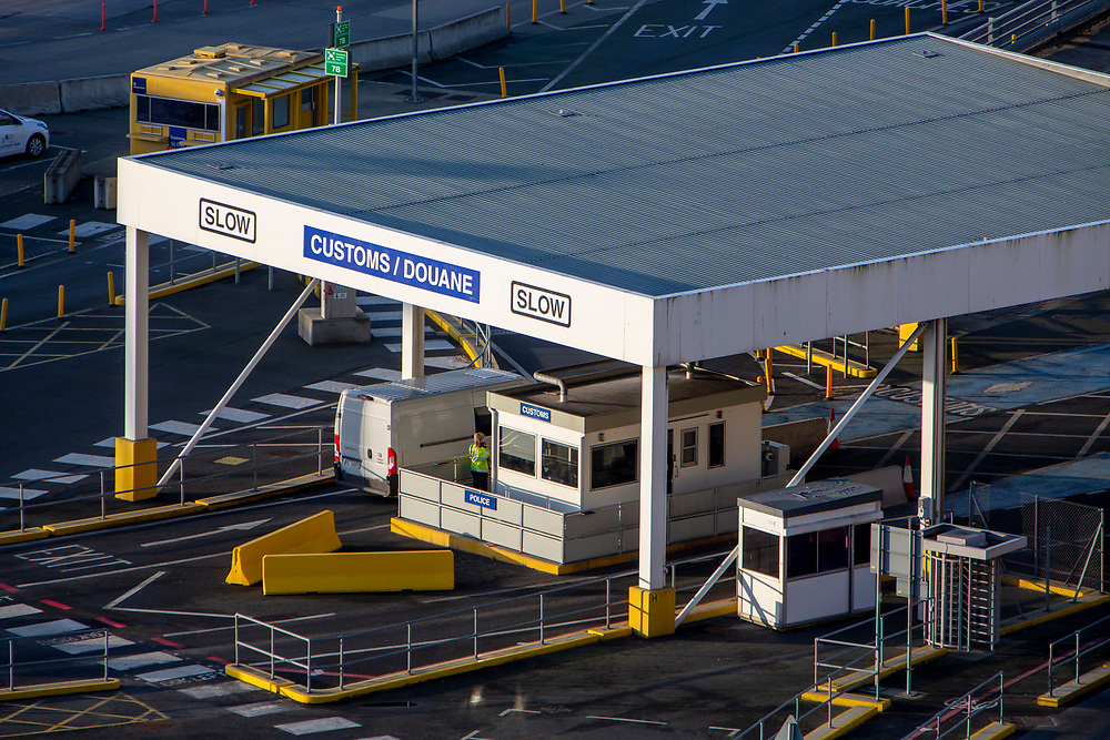 The UK police customs check for everyone arriving into the Eastern Dock of the Port of Dover where the cross channel port is situated with ferries departing here to go to Calais in France on the 29th of January 2020, Dover, Kent, United Kingdom. Dover is the nearest port to France with just 34 kilometres (21 miles) between them. It is one of the busiest ports in the world. As well as freight container ships it is also the main port for P&O and DFDS Seaways ferries.  (photo by Andrew Aitchison / In pictures via Getty Images)