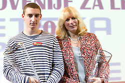 Uros Jovanovic and coach Majda Krize during the Slovenia's Athlete of the year award ceremony by Slovenian Athletics Federation AZS, on November 12, 2008 in Hotel Mons, Ljubljana, Slovenia.(Photo By Vid Ponikvar / Sportida.com) , on November 12, 2010.