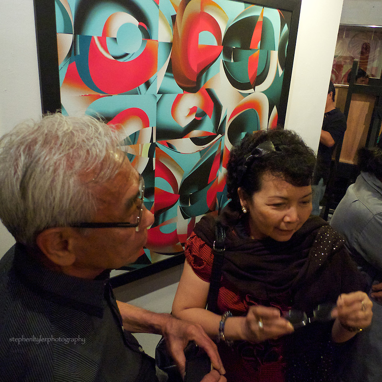 "With digital artist Rodolfo Samonte during the opening night of his ""New Work"" exhibition held in Ross Capili's GalerieOne Workshop in Makati City."