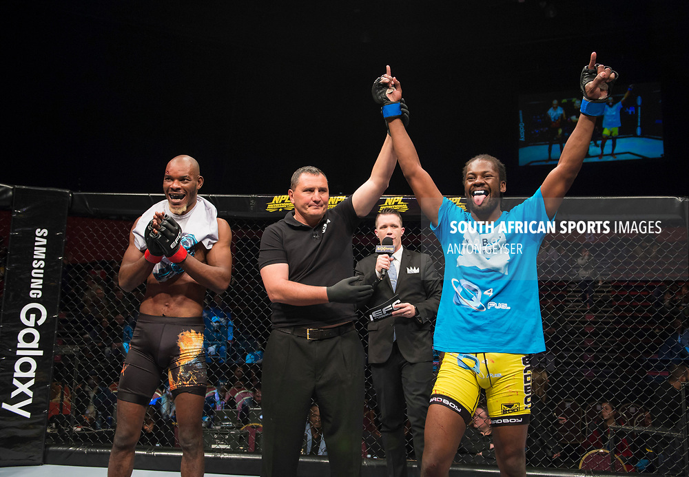 JOHANNESBURG, SOUTH AFRICA - MAY 13: Nerick Simoes celebrates after defeating Trezegeut Kanyinda during EFC 59 Fight Night at Carnival City on May 13, 2017 in Johannesburg, South Africa. (Photo by Anton Geyser/EFC Worldwide/Gallo Images)
