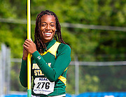Norfolk State senior Elaine Rhoades is all smiles before her Javelin Throw in the Women's Heptathlon at the 2011 MEAC Track and Field Championship held at North Carolina A&T in Greensboro, North Carolina.  Rhoades won the Heptathlon with 4500 points.  (Photo by Mark W. Sutton)