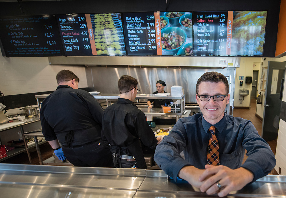 rer0605h/Biz/June 05, 2017/Albuquerque Journal<br /> Chello Grill is a Mediterranean restaurant owned by Pizza 9 that just opened at the Pavilions at San Mateo Shopping Center. Pictured is General Manager Mike Bottoms(Cq)<br />  Roberto E. Rosales/Albuquerque Journal