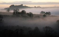 © London News Pictures. 01/03/2014. Cranmore, UK. A mist covered landscape at sunrise over Cranmore in Somerset on the first day of Meteorological Spring, March 1st 2014. Photo credit : Jason Brynat/LNP