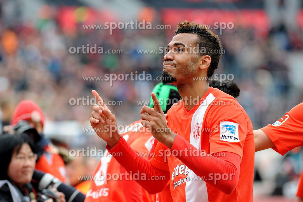 01.03.2014, BayArena, Leverkusen, GER, 1. FBL, Bayer 04 Leverkusen vs 1. FSV Mainz 05, 23. Runde, im Bild Torschuetze Eric Maxim Choupo-Moting ( FSV Mainz 05 / Portrait / Emotion ) jubelt ueber seinen Treffer zum 1 : 0 // during the German Bundesliga 23th round match between Bayer 04 Leverkusen and 1. FSV Mainz 05 at the BayArena in Leverkusen, Germany on 2014/03/01. EXPA Pictures &copy; 2014, PhotoCredit: EXPA/ Eibner-Pressefoto/ Thienel<br /> <br /> *****ATTENTION - OUT of GER*****