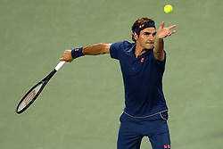 DUBAI, March 2, 2019  Roger Federer of Switzerland serves during the singles semifinal match between Roger Federer of Switzerland and Borna Coric of Croatia at the ATP Dubai Duty Free Tennis Championships 2019 in Dubai, the United Arab Emirates, March 1, 2019. Roger Federer won 2-0 to proceed to the final. (Credit Image: © Suhaib Salem/Xinhua via ZUMA Wire)