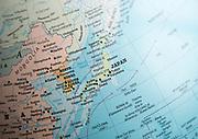 East Asia map on a globe focused on Japan, North Korea, South Korea,