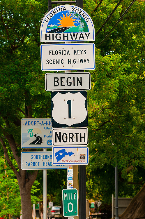 Sign for beginning of U. S. 1 (Overseas Highway), Key West, Florida Keys, Florida USA