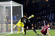 Manchester City forward Gabriel Jesus (9) tries to bend a shot round Burnley goalkeeper Nick Pope (1) but sees it go just past the post during the Premier League match between Burnley and Manchester City at Turf Moor, Burnley, England on 3 December 2019.