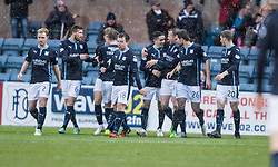 Dundee's Alex Harris cele scoring their first goal. <br /> half time : Dundee 3 v 1 Motherwell, SPFL Premiership played 10/1/2015 at Dundee's home ground Dens Park.