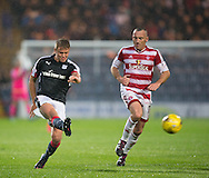 Dundee&rsquo;s Mark O&rsquo;Hara ties in a shot - Dundee v Hamilton Academical in the Ladbrokes Scottish Premiership at Dens Park<br /> <br />  - &copy; David Young - www.davidyoungphoto.co.uk - email: davidyoungphoto@gmail.com