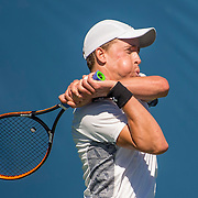 August 22, 2016, New Haven, Connecticut: <br /> Jose Statham in action during the US Open National Playoffs men's singles finals match on Day 4 of the 2016 Connecticut Open at the Yale University Tennis Center on Monday August  22, 2016 in New Haven, Connecticut. <br /> (Photo by Billie Weiss/Connecticut Open)