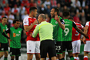 Scunthorpe United's Rory McArdle (23) gets a yellow card after this fracas during the EFL Sky Bet League 1 play off second leg match between Rotherham United and Scunthorpe United at the AESSEAL New York Stadium, Rotherham, England on 16 May 2018. Picture by Nigel Cole.