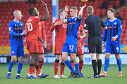 A disagreement between the two teams during the EFL Sky Bet League 1 match between Walsall and Rochdale at the Banks's Stadium, Walsall, England on 2 February 2019.