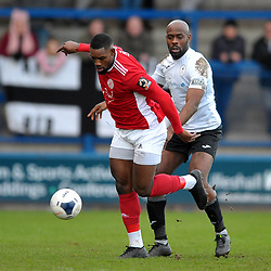 TELFORD COPYRIGHT MIKE SHERIDAN Theo Streete of Telford battles for the ball with Lee Ndlovu of Brackley during the Vanarama Conference North fixture between AFC Telford United and Brackley Town at the New Bucks Head on Saturday, January 4, 2020.<br /> <br /> Picture credit: Mike Sheridan/Ultrapress<br /> <br /> MS201920-039