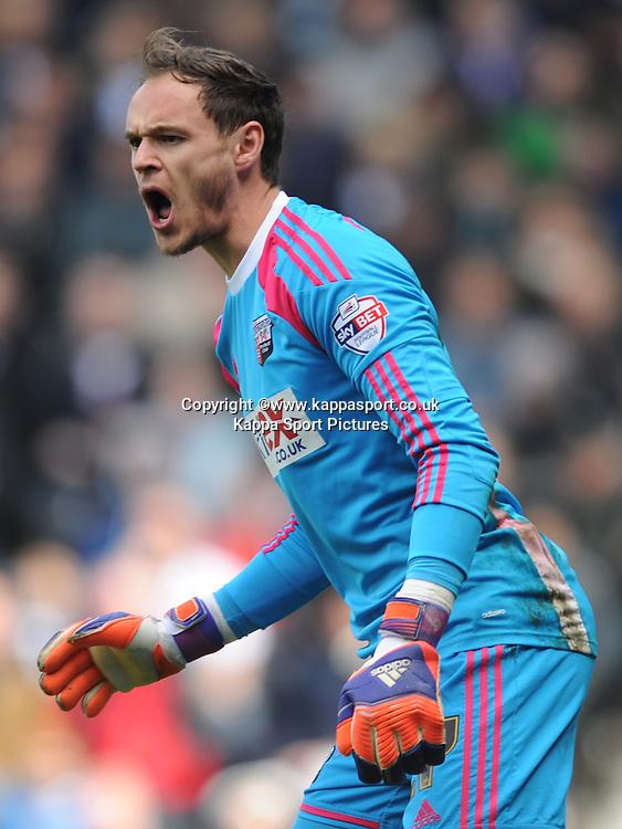 David Button Goalkeeper Brentford, Derby County v Brentford, Sy Bet Championship, IPro Stadium, Saturday 11th April 2015. Score 1-1,  (Bent 92) (Pritchard 28)<br /> Att 30,050