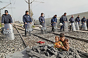 Refugees from Syria, Irak, Afghanistan and others from the near east are trying to reach the border between Greece and Macedonia (FYROM). <br /> Idomeni, is the eye of a needle for getting to northern Europe. <br /> The FYROM authorities, closed the border to Greece completely. The situation gets more and more difficult. The refugees have to sleep outside or in small tents. <br /> Heavy rainfalls and cold nights are treating the refugees badly. There is not enough food and supplies to help about 14.000 refugees. March 2016<br /> <br /> keine Veroeffentlichung unter 50 Euro*** Bitte auf moegliche weitere Vermerke achten***Maximale Online-Nutzungsdauer: 12 Monate !!