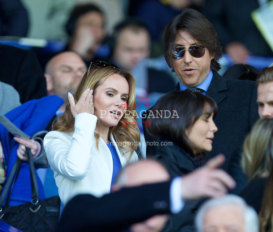 LIVERPOOL, ENGLAND - Sunday, April 26, 2015: Everton supporter and actress Amanda Holden and her husband Chris Hughes before the Premier League match against Manchester United at Goodison Park. (Pic by David Rawcliffe/Propaganda)