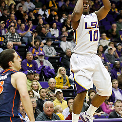 January 2, 2012; Baton Rouge, LA; LSU Tigers guard Andre Stringer (10) shoots a three pointer over Virginia Cavaliers guard Sammy Zeglinski (13)during the first half of a game at the Pete Maravich Assembly Center.  Mandatory Credit: Derick E. Hingle-US PRESSWIRE